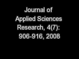 Journal of Applied Sciences Research, 4(7): 906-916, 2008