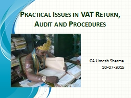 Practical Issues in VAT Return, Audit and Procedures PowerPoint PPT Presentation