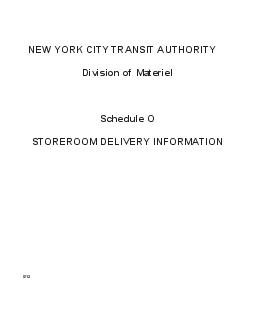 NEW YORK CITY TRANSIT AUTHORITY Division of Materiel Schedule O STORER