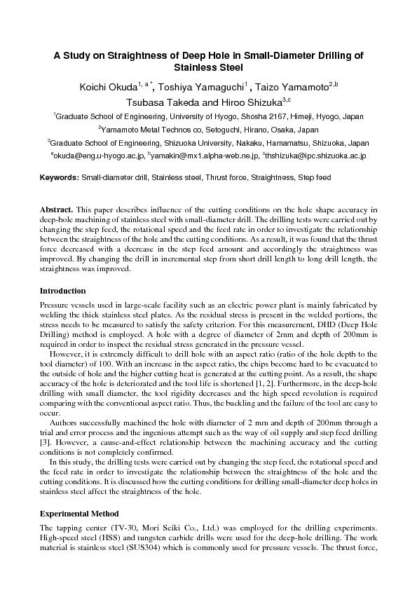 A Study on Straightness of Deep Hole in Small-Diameter Drilling of Key