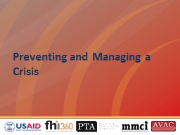 Preventing and Managing a Crisis PowerPoint PPT Presentation