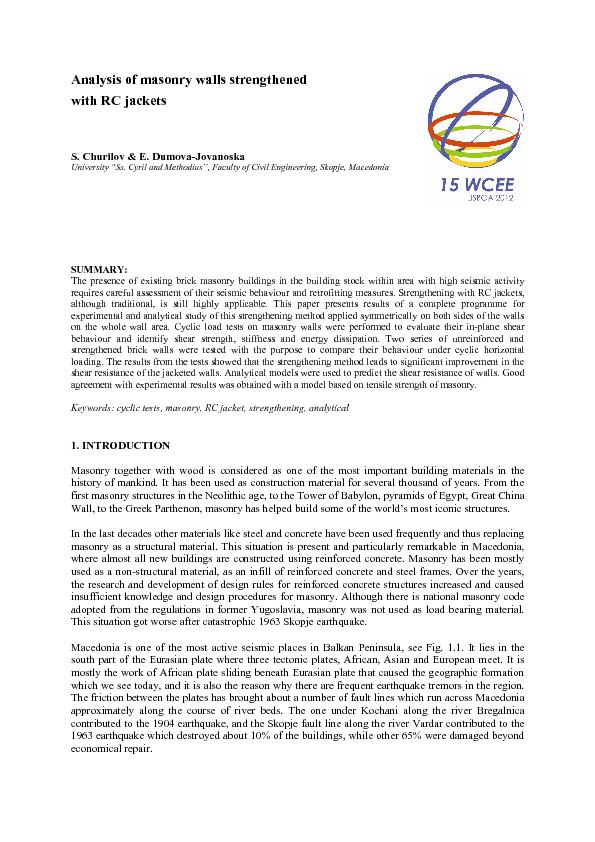 Analysis of masonry walls strengthened  with RC jackets S. Churilov &