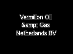 Vermilion Oil & Gas Netherlands BV