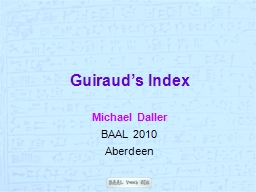 Guiraud�s Index