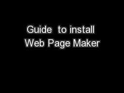 Guide  to install Web Page Maker