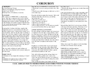 CORDUROY By Don Freeman Viking Themes Friendship Caring SelfEsteem Grade Level PreK Running Time  minutes live action SUMMARY The setting for CORDUROY is a department store