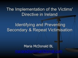 The Implementation of the Victims' Directive in Ireland