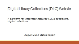 Digital Library Collections (DLC) Website