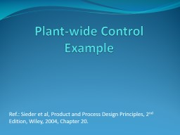 Plant-wide Control