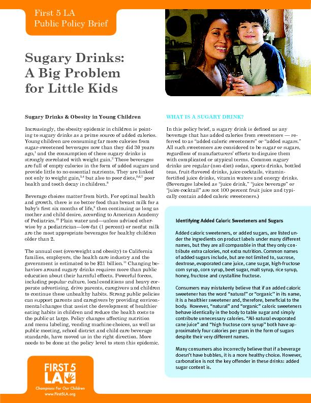 Sugary Drinks & Obesity in Young Children