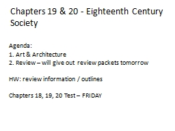 Chapters 19 & 20 - Eighteenth Century Society