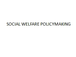 SOCIAL WELFARE POLICYMAKING PowerPoint PPT Presentation