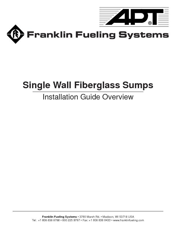 Single Wall Fiberglass Sumps