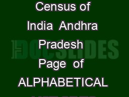 List of towns Census of India  Andhra Pradesh  Page  of  ALPHABETICAL LIST OF TO