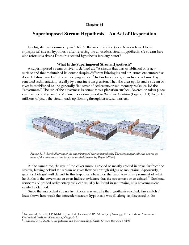 Chapter 81Superimposed Stream HypothesisAn Act of DesperationGeologist PowerPoint PPT Presentation