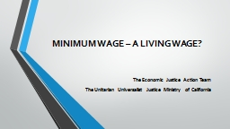 MINIMUM WAGE – A LIVING WAGE?
