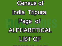 List of towns Census of India  Tripura  Page  of  ALPHABETICAL LIST OF TOWNS AND