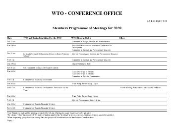 WTO PROGRAMME OF MEETINGS FOR   March   PM CONFERENCE OFFICE For conference matters only Fax      Email Conference PowerPoint PPT Presentation