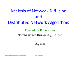 Analysis of Network Diffusion