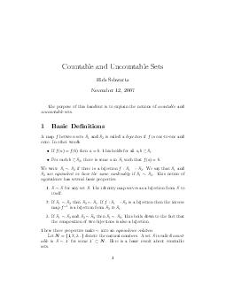 Countable and Uncountable Sets Rich Schwartz November   The purpose of this handout is to explain the notions of countable and uncountable sets