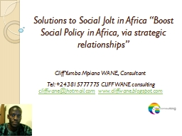 "Solutions to Social Jolt in Africa ""Boost Social Policy i"