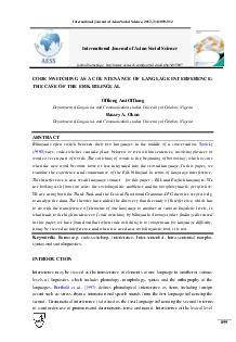 International Journal of Asian Social Science       CODE SWITCHING AS A COUNTENANCE OF LANGUAGE INTERFERENCE THE CASE OF THE EFIK BILINGUAL Offiong Ani Offiong Department of Linguistics and Communica