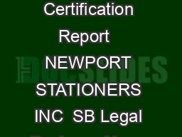 California Certification Report   NEWPORT STATIONERS INC  SB Legal Business Name