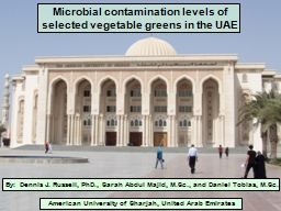 Microbial contamination levels of selected vegetable greens