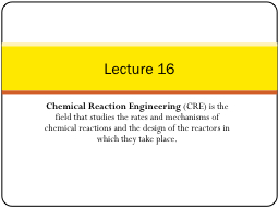 Chemical Reaction Engineering