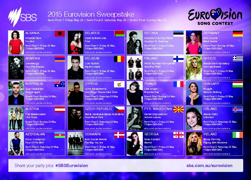 2015 Eurovision SweepstakeSemi Final 1: Friday May 22Semi Final 2: Sat