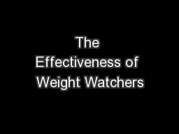 The Effectiveness of Weight Watchers