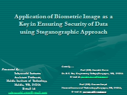 Application of Biometric Image as a Key in Ensuring Securit PowerPoint PPT Presentation