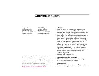 Courteous Glass Jaeyeon Jung Microsoft Research One Microsoft Way Redmond WA  USA jjungmicrosoft