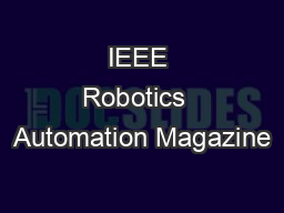 IEEE Robotics  Automation Magazine