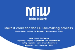 Make it Work and the EU law-making process