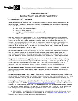 Oregon State University Courtesy Faculty and Affiliate Faculty Policy COURTESY FACULTY MEMBER Departments may name an individual as a courtesy faculty member if the contributions of the individual wi