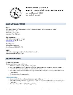 CONTACT COURT STAFF Clerks Information about the filing of documents entry of orders reque st for hearing and case status Janice Gonzales Lead Clerk     Maria De La Rosa ssistant Clerk    Trial Coor