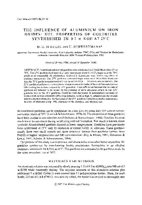 INFLUENCE OF ALUMINIUM ON IRON OXIDES: XIII. PROPERTIES OF GOETHITES S