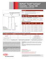 DuPont Tyvek IsoClean Coveralls  Series  GARMENT TECHNICAL DATA SHEET Typical Finished Dimensions Size Sleeve Length Chest Width Inseam Fits Chest Fits Height SM      to   to  MD      to   to  LG