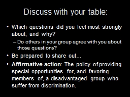 Discuss with your table: