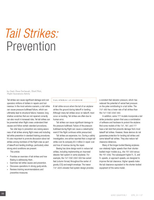 tail strike occurs when the tail of an airplane