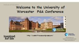 Welcome to the University of Worcester