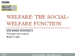 Welfare: The Social-Welfare Function PowerPoint PPT Presentation