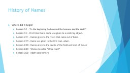 History of Names PowerPoint PPT Presentation