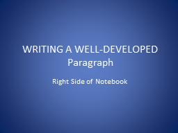 WRITING A WELL-DEVELOPED