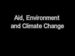 Aid, Environment and Climate Change
