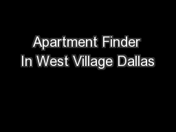 Apartment Finder In West Village Dallas