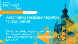 Automating Database Migration PowerPoint PPT Presentation