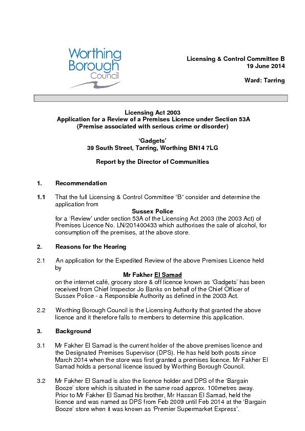 Licensing & Control Committee B