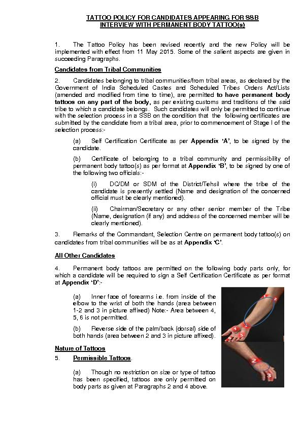 TATTOO POLICY FOR CANDIDATES APPEARING FOR SSB